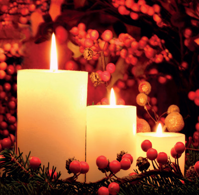 Candles and Berries - Christmas Cards